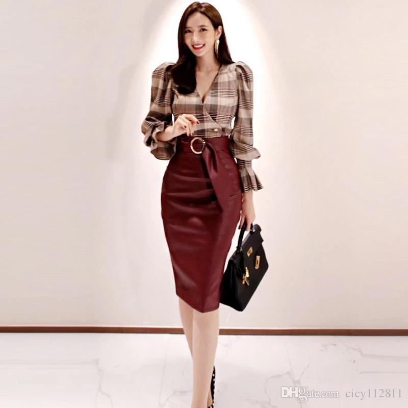 Kore Versiyonu Son The Ince Mizaç PU Gömlek + Çanta Moda Hip Suit Ekose Etek Gerdt