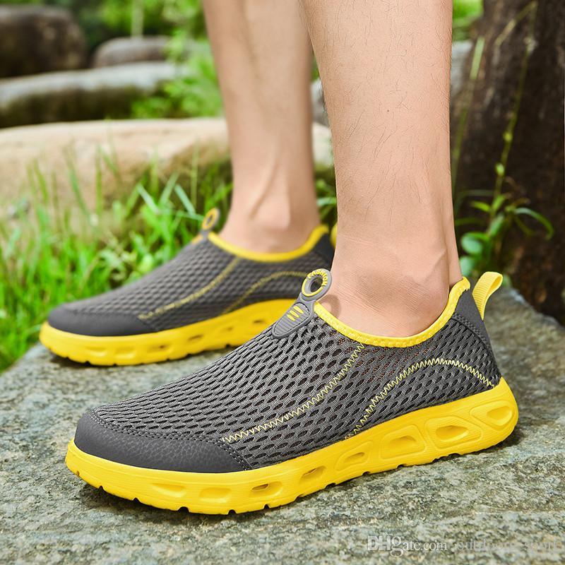 Пробираясь обувь Мода Для женщин мужские поскользнуться на кроссовки Summer дышащий Конструктор тренеров кроссовки Самодельный бренд Сделано в Китае размер 39-44