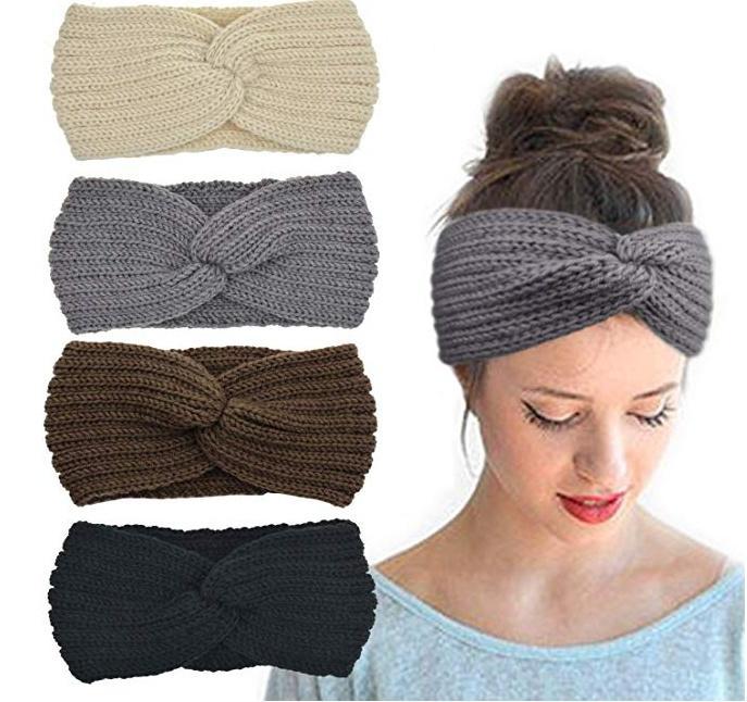 Inverno Knit Headbands Chunky Headwrap por Mulheres Crochet Turban malha Ear Warmer