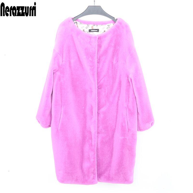 Faux Nerazzurri femmes veste de fourrure nouvelle arrivée 2019 manteau de cocon chauve-souris manches de doux taille plus fourrure manteau de fourrure faux pelucheux 5XL 6XL 7XL V191209