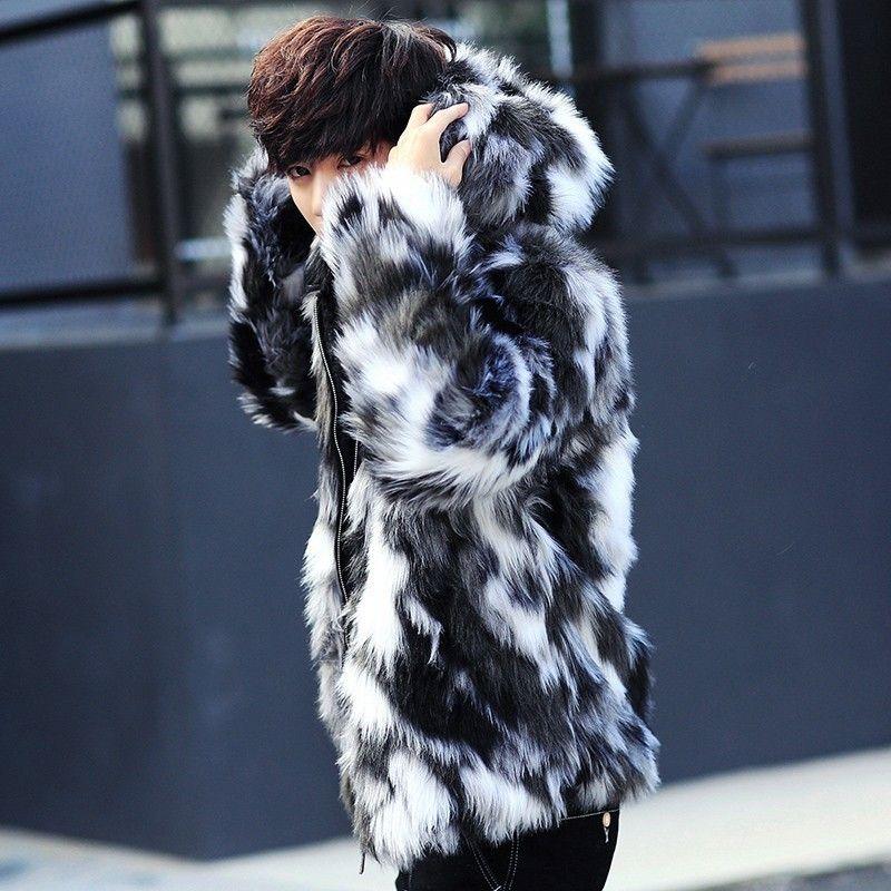 ليوبارد معطف الفرو فو الرجال مقنع الدافئة الرجال معاطف الفراء زيبر ألبسة التنزه سترات ذكر الشتاء سترة المتضخم ملون الأسود 3XL