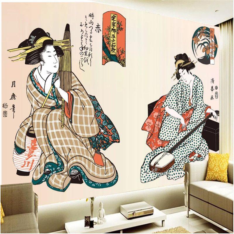 Personnalisé Peint À La Main Ukiyo-e Dames Figure Photo Fonds D'écran Japonais Restaurant Murale Sushi Magasin Industriel Décor Papier Peint 3D