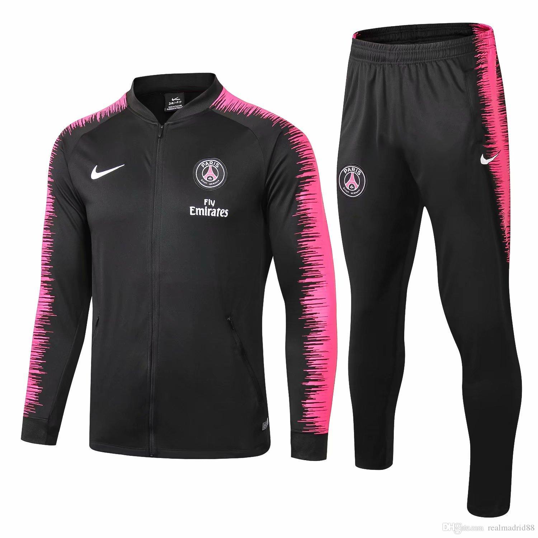 Conjunto de 3 piezas envío libre DHL 1819 ropa deportiva de alta calidad 19 nuevo hechizo negro chaqueta de cremallera completa de los hombres de fútbol de los deportes traje