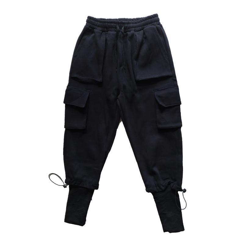 Men's Pants 2021 Men Ribbons Color Block Black Pocket Cargo Harem Joggers Harajuku Sweatpant Hip Hop Trousers