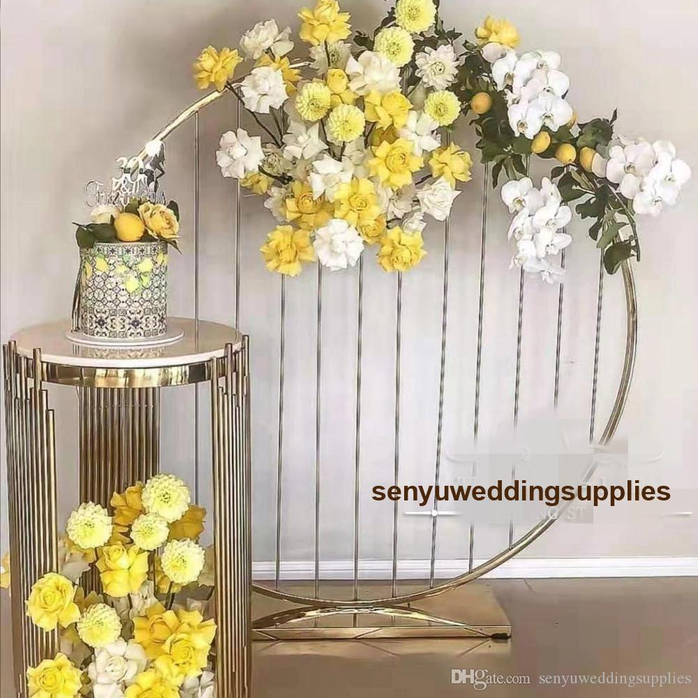 New style Tall iron Wedding Aisle Pillar Metal Flower Display Stand painted colour gold Flower Stand wedding decoration senyu0459