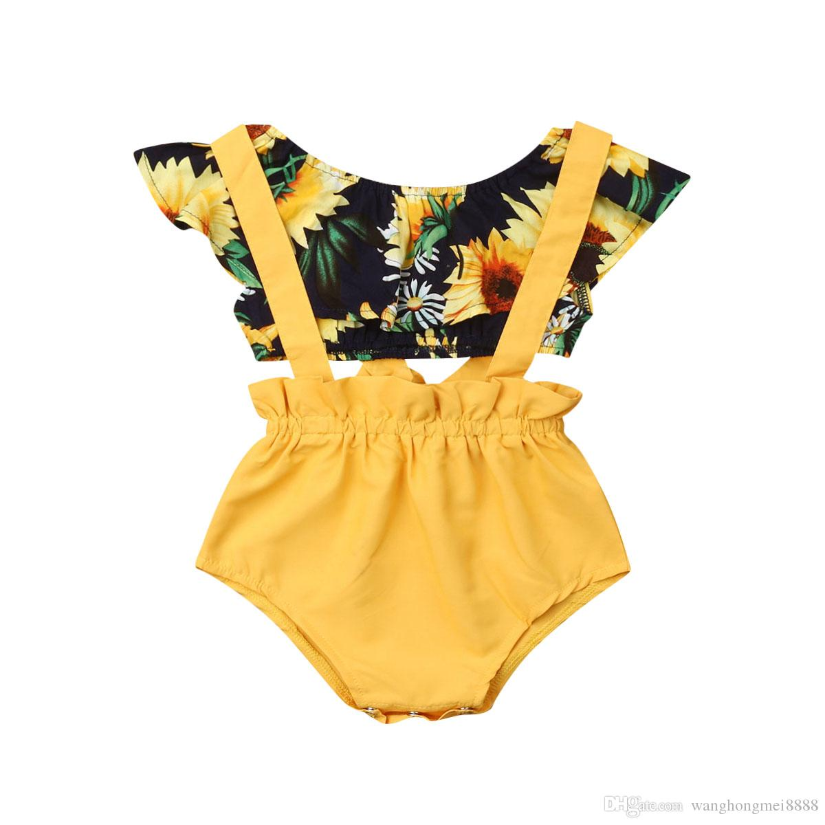 Infant Baby Girls Princess Clothes Summer Newborn Baby Girl Sunflower T-shirt Tops+Suspenders Shorts 2Pcs Outfits Clothes 3-18M