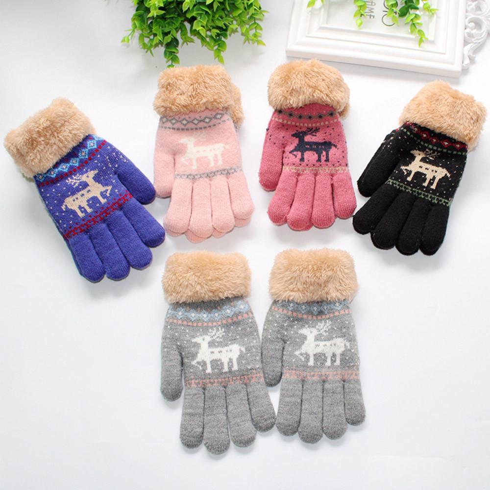 Christmas Hairball Solid Gloves for Infant Baby Girls Boys Winter Gloves Thicken Hot Outwear Glove for Children Kids handschoene