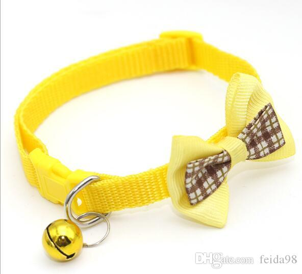Pet checked bow collar brass bell pet colla cat collar puppy collar 60pcs/lot W1189