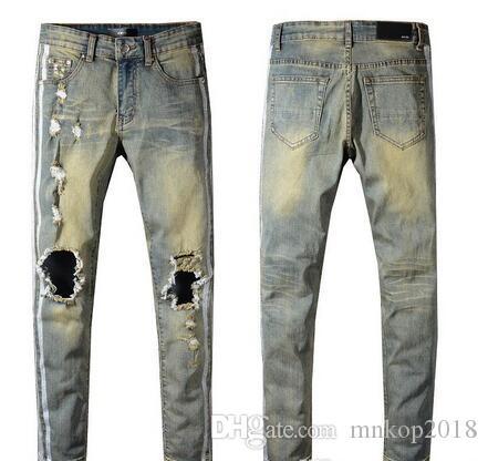 2019 NUOVO Uomo Hip Hop Jeans Uomo strappato Biker Strappato Jeans Casual Pantaloni Slim Fit Moto Denim Fashion # 5323