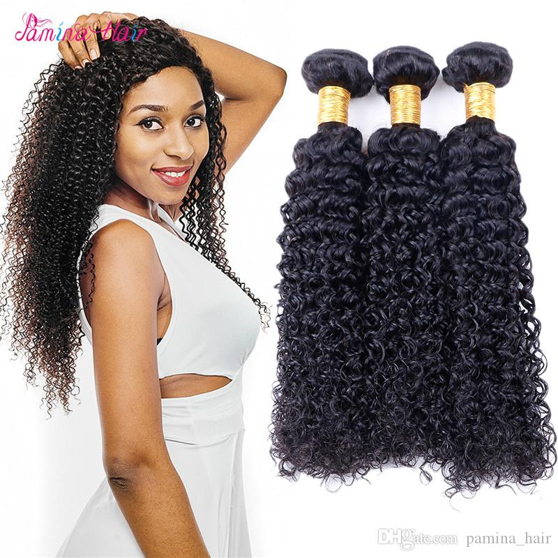 Brazilian Kinky Curly Hair 100% Human Hair Weave Bundles 3/4 Pieces Natural Color Remy Hair Bundles Tangle Free