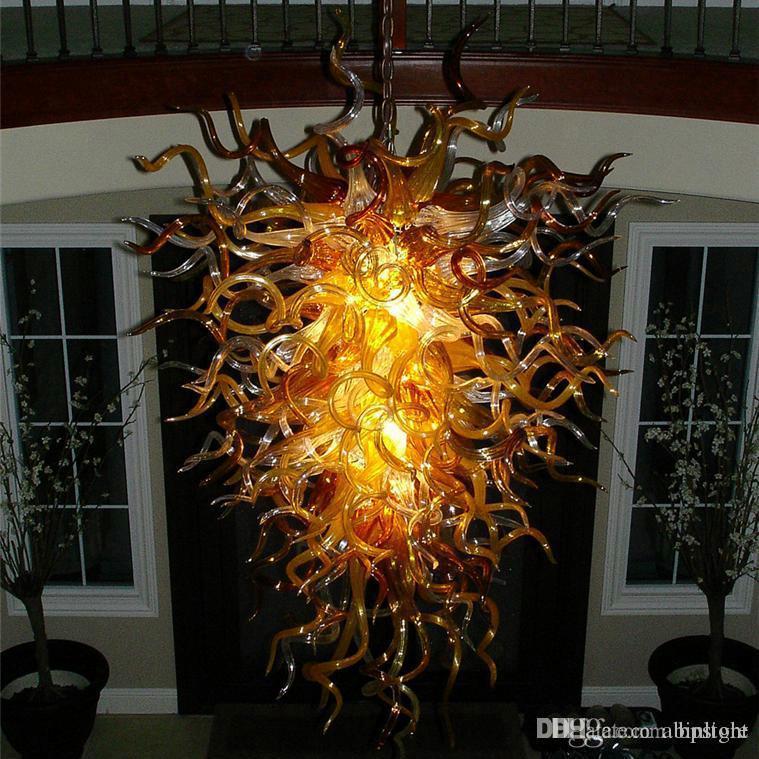 Отель Amber стекла Люстра освещения Искусство украшения светодиодные фонари и освещение Рука выдувное стекло Современная люстра Свет