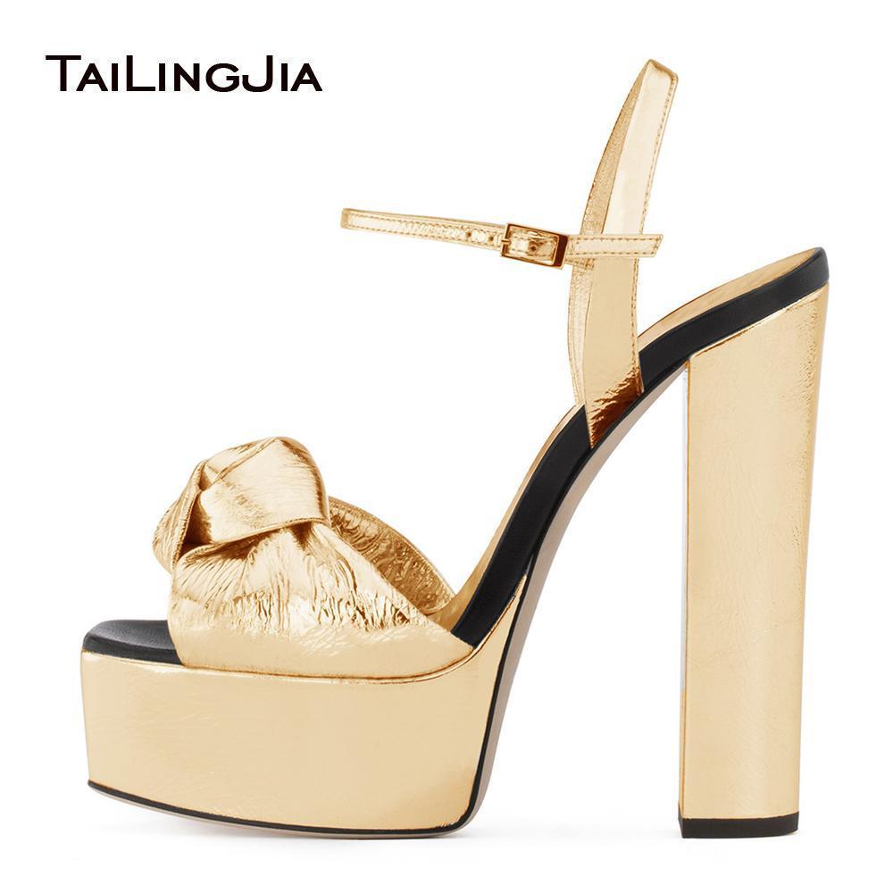 Золотые лакированные платформы для женщин узловатые сандалии на высоком каблуке Щепка ужин высокое платье каблуки дамы коренастый каблук летние туфли