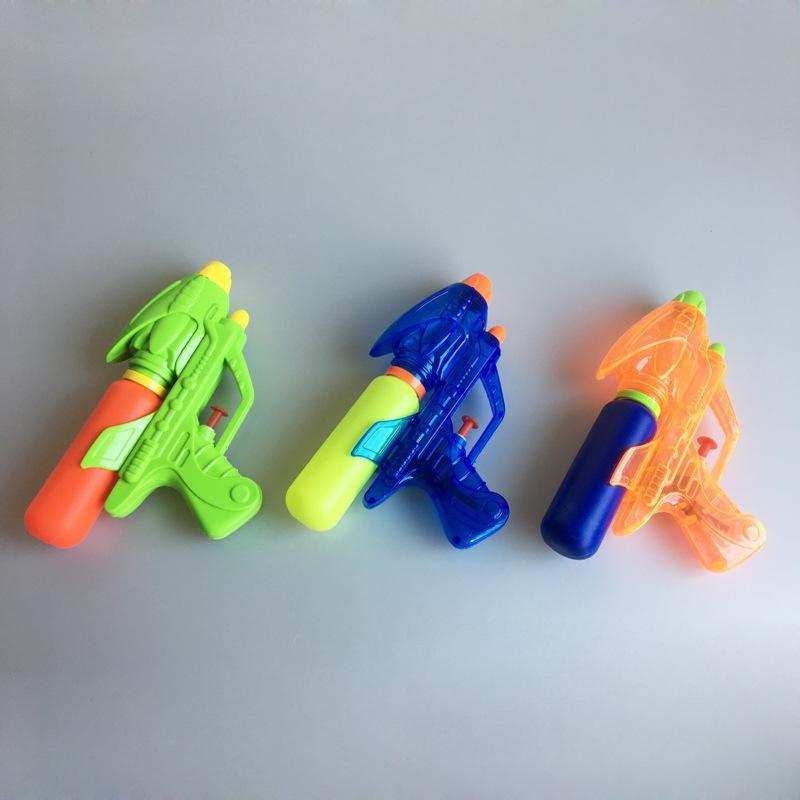 Summer children's plastic mini suppression water gun 18CM single nozzle transparent / solid color water gun beach water toy