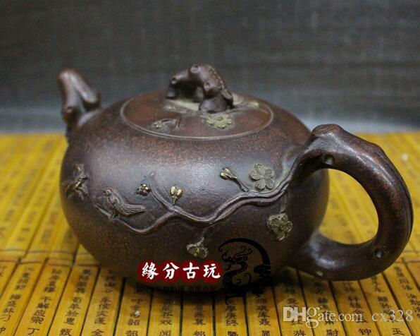 Antique Yixing mano viola sabbia Pot, Imitazione di Jiang Rong Teapot
