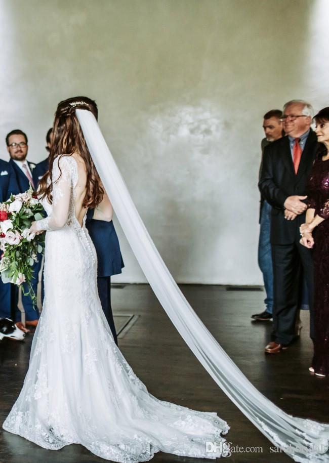 Cheap русалка свадебные платья v шеи без спинки длинные иллюзии рукава кружева аппликация плюс размер свадебные платья свадебные платья vestidos de nomia