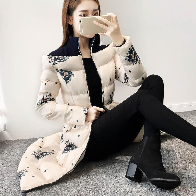 A-Line Print Women Jacket Winter Stand Collar Thicken Long Parkas Mujer 2019 Slim Cotton Jackets Women Coat Warm Overcoat C5810