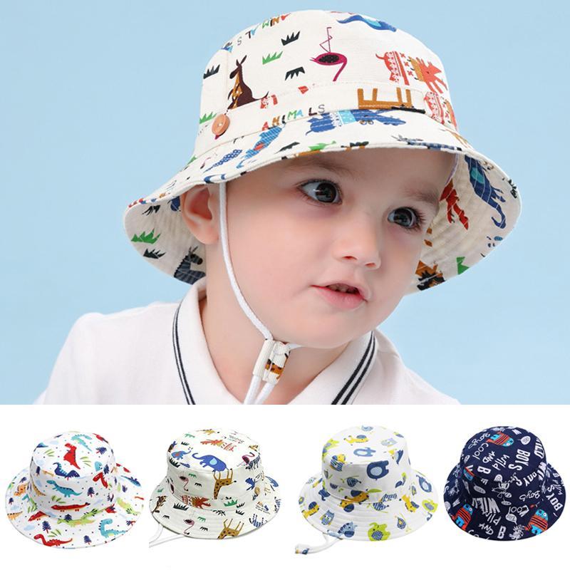 Ragazza del neonato Cap Hat per i bambini più piccoli i bambini Cotton Bucket Pesca Floppy Cappello per il sole delle ragazze dei ragazzi del fumetto di modo