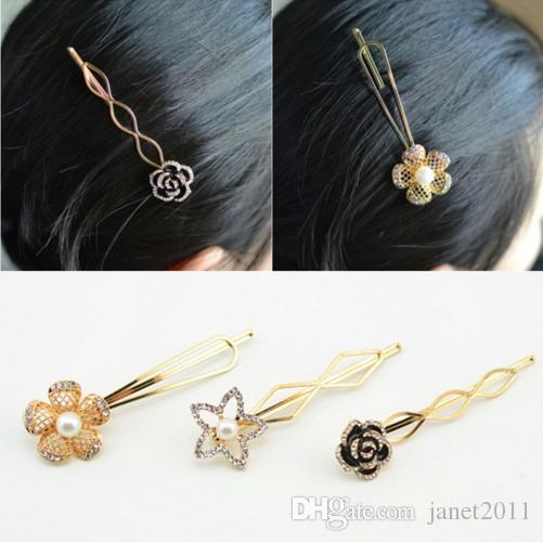 Dainty Rose Hair Barrettes Pin Clip Metal Gold Plated Crystal Cluster Hair Pin Accessories For Girls & Ladies