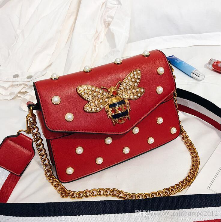 wholesale women handbag exquisite diamond chain bag sweet lady Pearl decoration women shoulder bag striped wide shoulder strap fashion bag