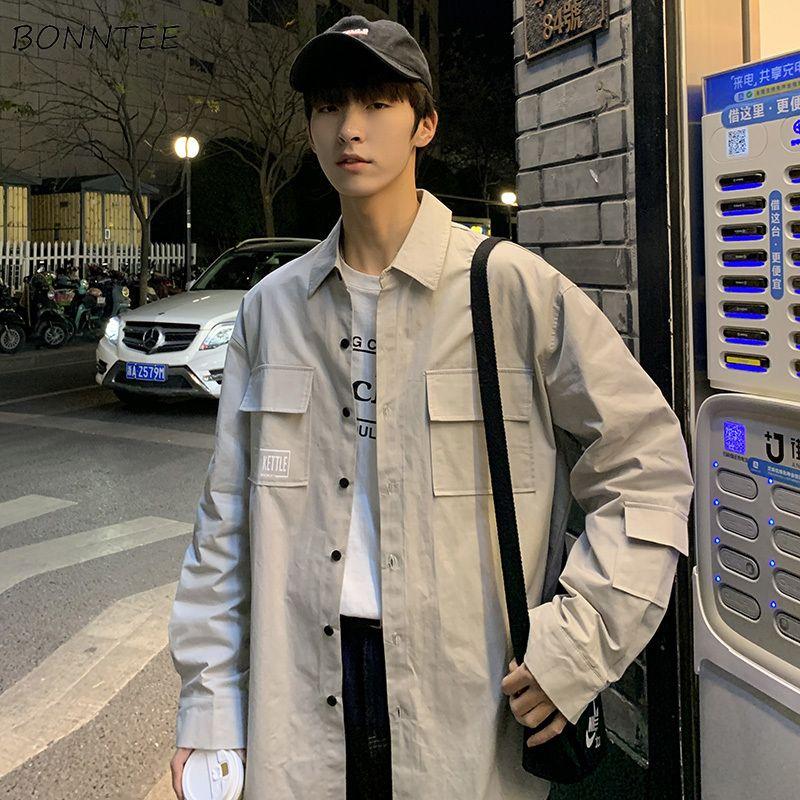 Men's Jackets Windbreak Men Cargo Shirts Loose Hip Hop Korean Fashion Long Sleeved Harajuku Patchwork Outwear Mens Letter Printed Chic