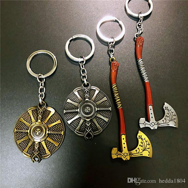 Game GOD OF WAR 4 Kratos Axe Guardian Shield Alloy Key Chains Keychain Keyring