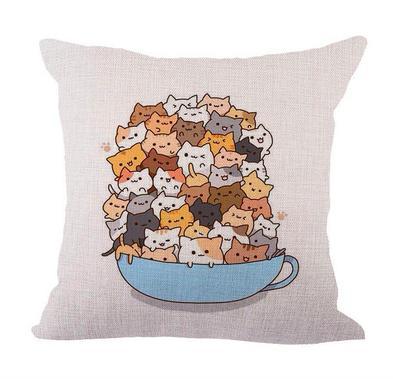 Gato do café dos desenhos animados Neck corpo Pillowcase roupa de cama Almofadas Tampa Couch Almofada Throw Pillow Decoração presente