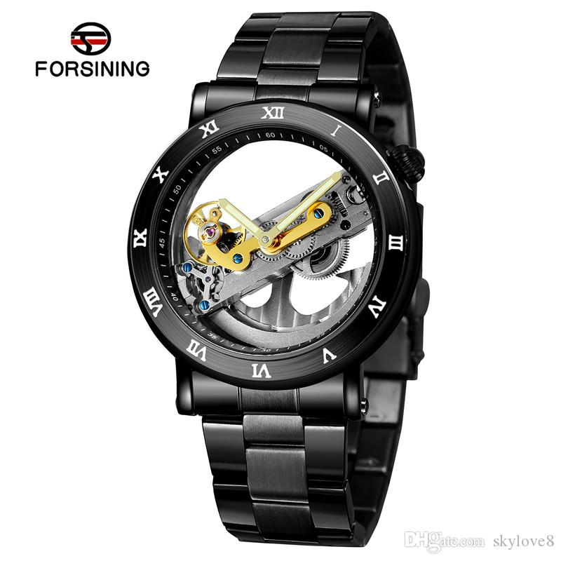 Promotionnels hommes haut de gamme en verre automatique montre mécanique parasismique à haute résistance montre étanche montre d'affaires de sports de loisirs