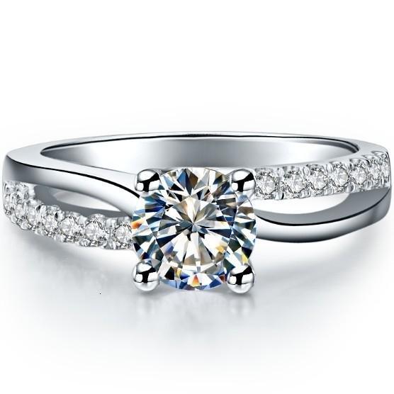1 Carat ouro puro 585 Estilo Adorável Grande Certified Moissanite Aniversário Anel Para Mulheres Sólidos Anel de noivado do ouro com Box T191101