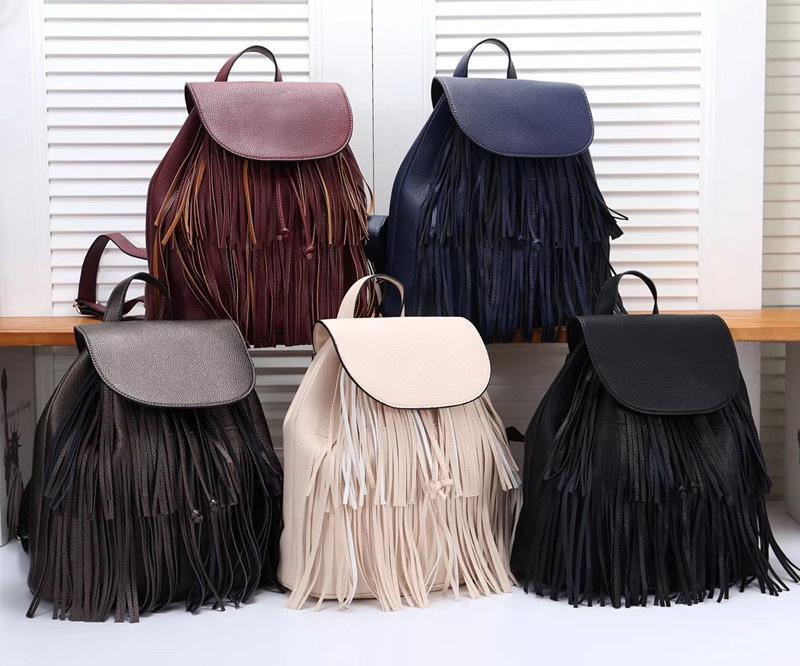 2019 Yeni Kadın Çanta Tasarımcısı Yüksek Kaliteli Lüks sırt çantası Ünlü çanta bayan Çanta çanta Saçaklı sırt çantası