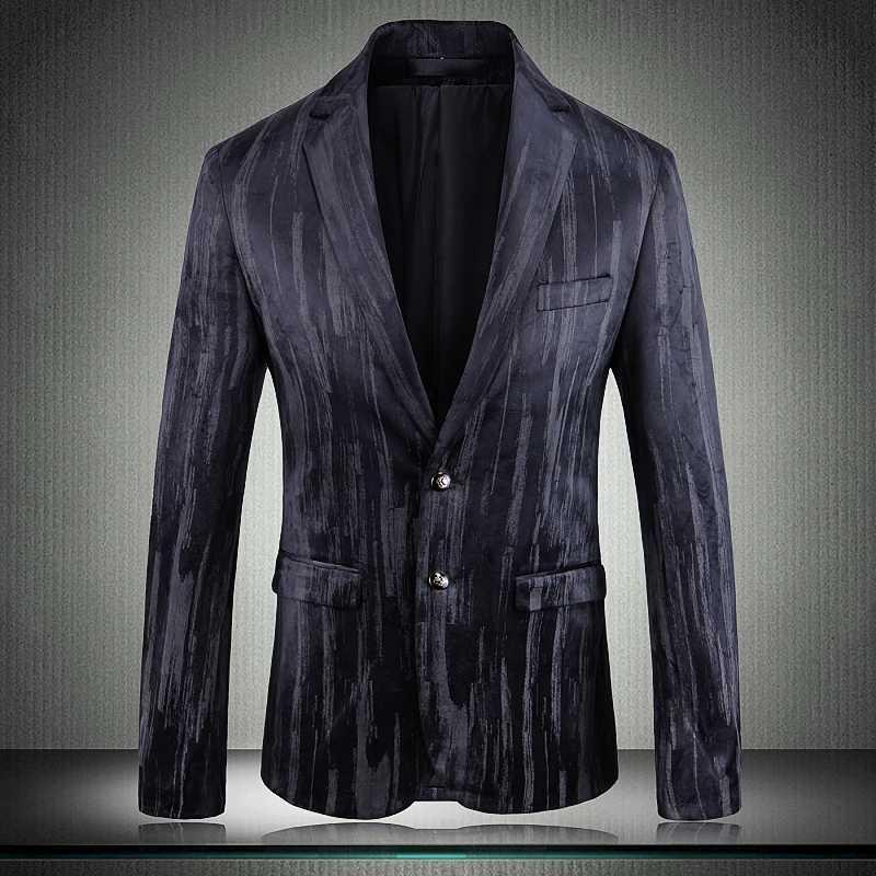 Новый Мужской Blazer Роскошный однобортный Свадьба Пром Пиджаки Мужчины плюс размер 4XL 5XL Blazer Тонкий Человек Мужчина для пиджак