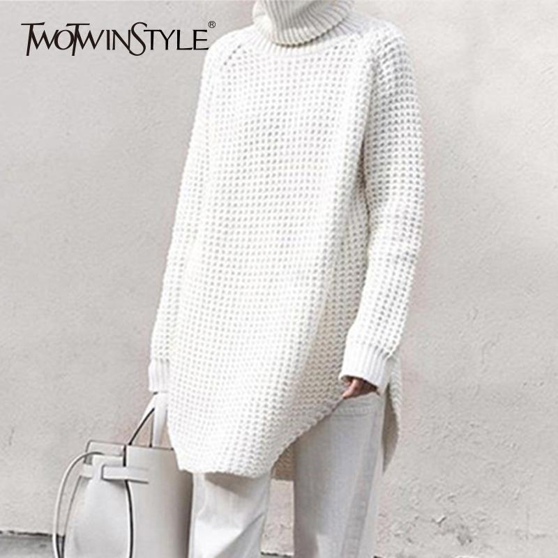 Twotwinstyle Hollow Out Sweater For Women Turtleneck Split Long Sleeve Midi Knitting Jumper 2019 Spring Thick Casual ClothingMX190820