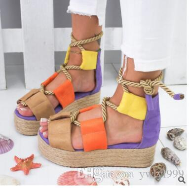 Hot style large-size women's cross-strap sandals with thick soles and matching colors