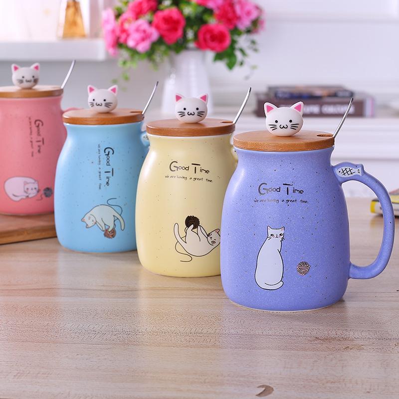 뚜껑과 숟가락 커피 우유 차 머그컵 아침 식사 컵 WB1891와 450ml 만화 고양이 세라믹 머그잔
