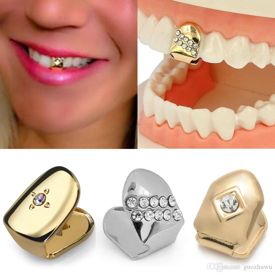 18K Gold Braces Punk Hip Hop Single Diamond Teeth Grillz Dental Mouth Fang Fake Grills Tooth Cap Cosplay Party Rapper Jewelry Gift Wholesale