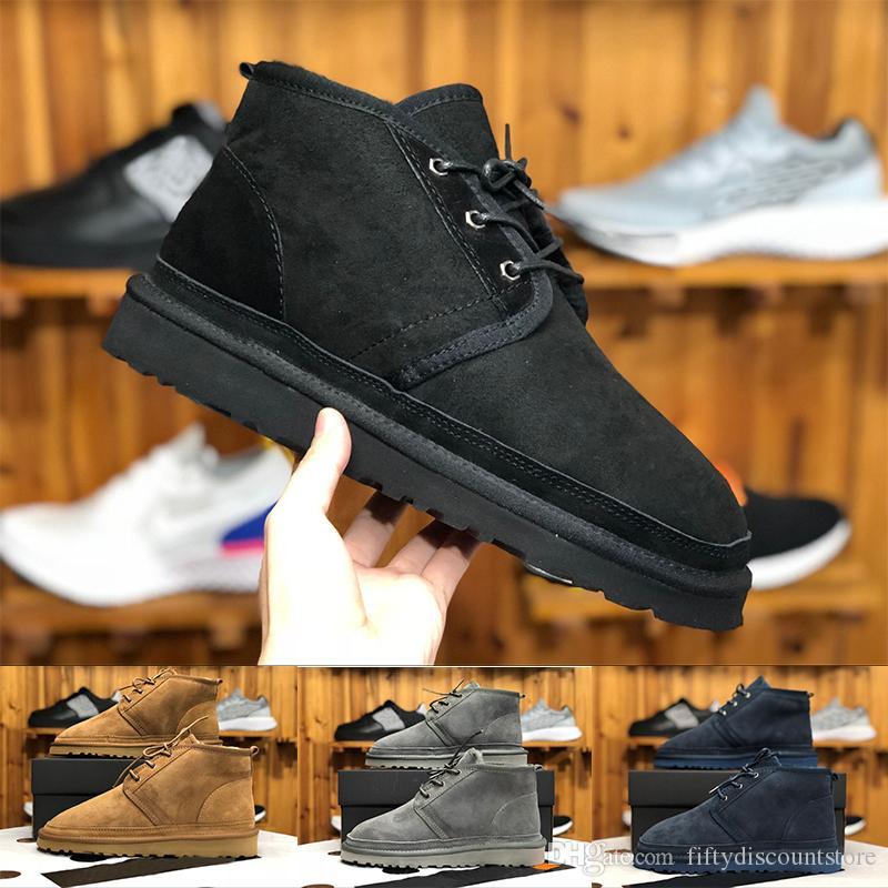 (CON CAJA) Botas de lana de calidad superior NEUMEL SUEDE Botas de invierno Botas clásicas para hombre nuevas series de Newm correas casual mini botas cálidas zapatos