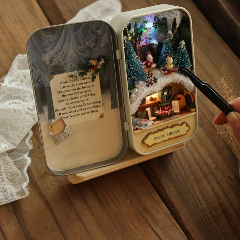 Box Theatre Nostalgic Theme Miniature Scene Wooden Miniature Puzzle Toy DIY Doll House Furnitures Countryside Toys Gift for Kids
