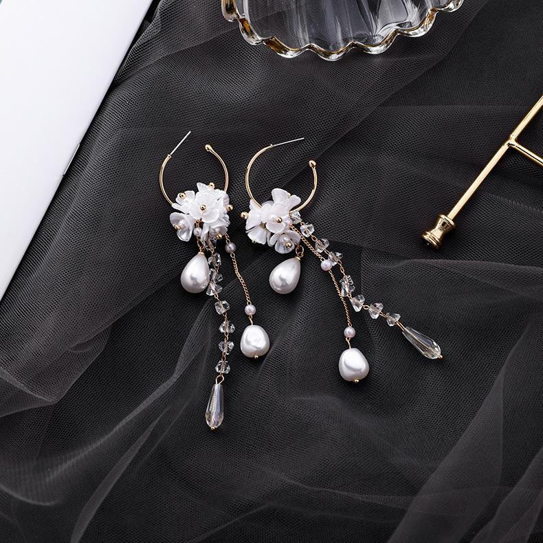South Korea New Style Baroque Pearl Crystal Flower Tassel Earring MORI Series Sweet Shell Flower Ear Ring Ear Rings Women's