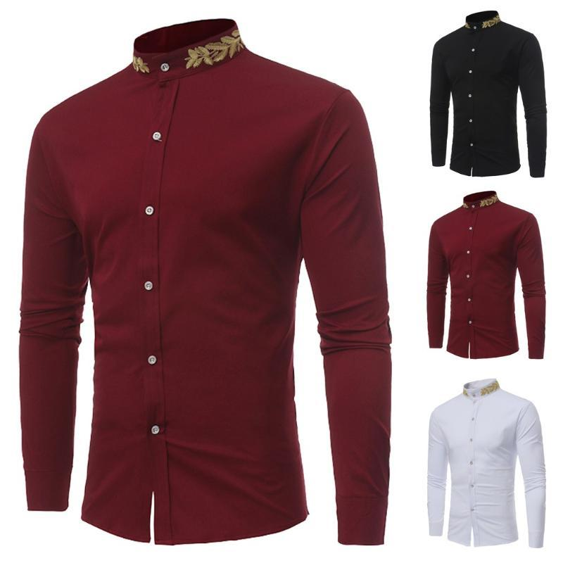 Chinese Collar Shirts For Men Spring Summer Long Sleeve Embroidery African Print Mens Shirts Casual Slim Fit Big Size Clothes