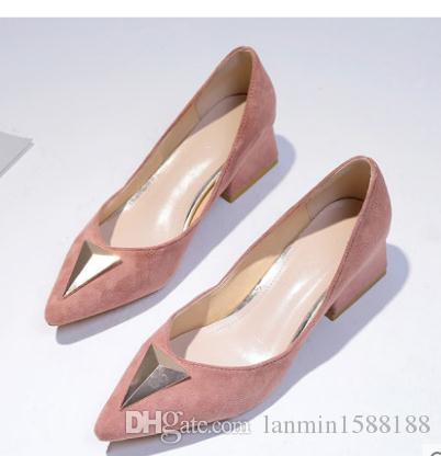 2019 Chaussures femmes au printemps et en automne avec nouveau style talon haut talon gros bout pointu en daim @ B039