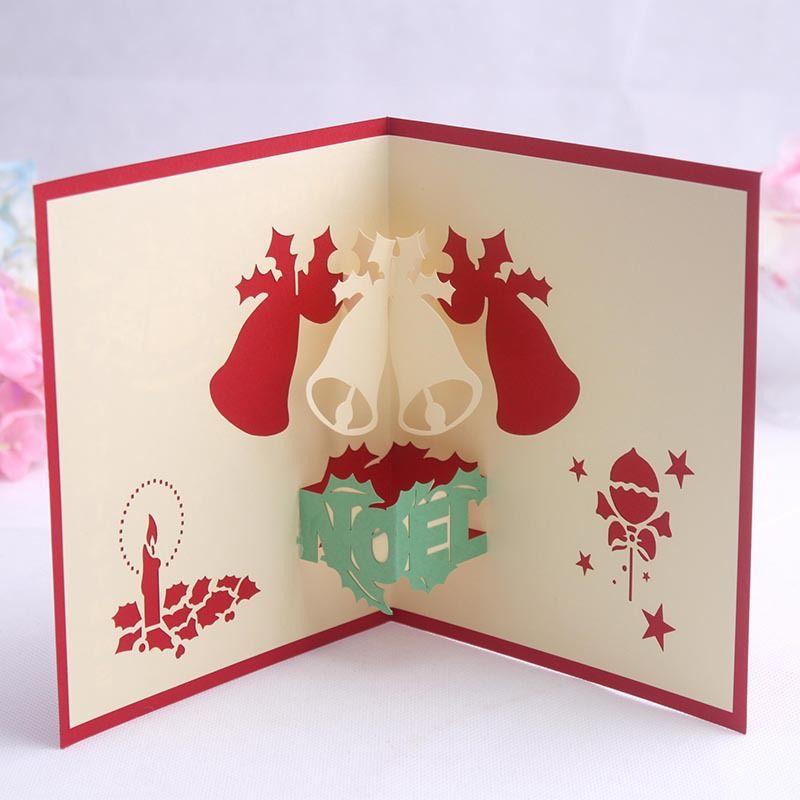 Kart Noel Bell Parti Davetiyeleri Kağıt Kart Kişiselleştirilmiş Keepsakes Kartpostallar Hediye Tebrik DHL Ücretsiz Noel Kart 3D Pop Up