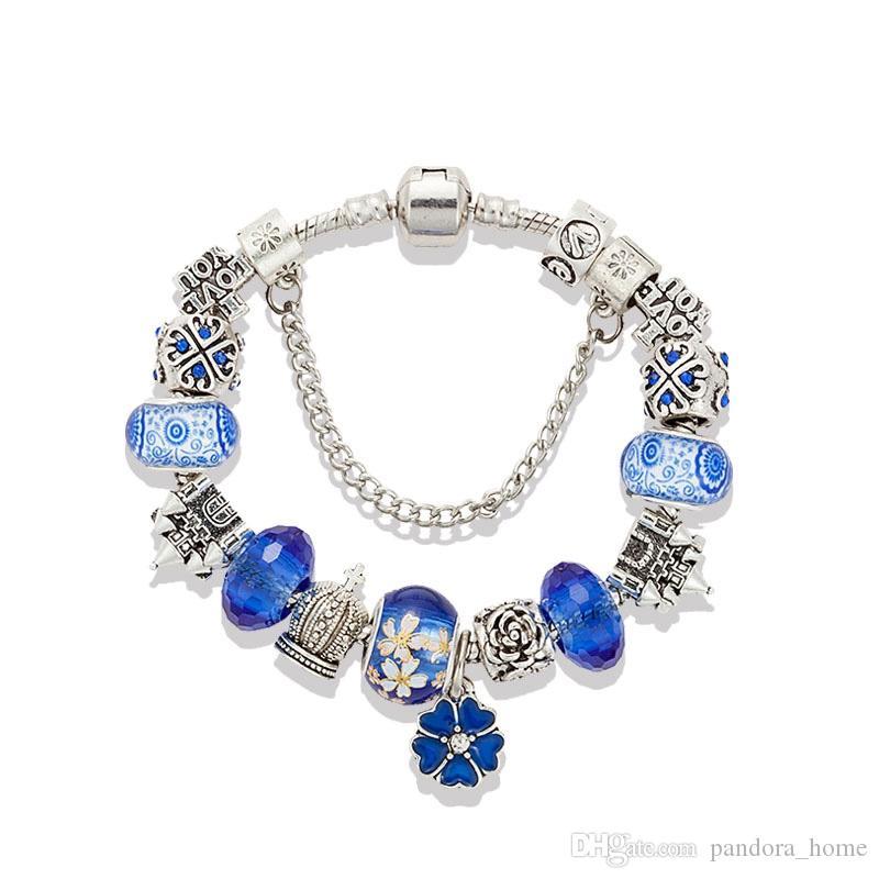 جديد الأزرق الملكي كريستال قلادة سوار فضي مطلي الأصل صندوق مجموعة مناسبة لباندورا DIY قلعة مطرز سوار هدية العيد