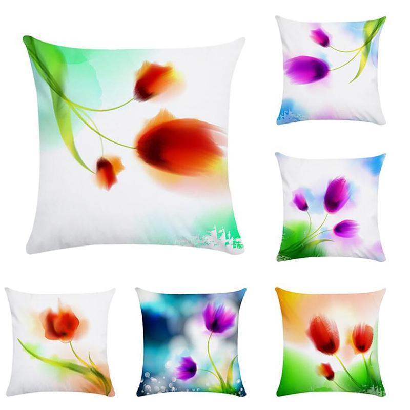 수채화 로맨틱 양귀비 꽃 장식 Pillowcases 쿠션 커버면 리넨 던져 베개 케이스 Kussensloop 홈 자동차 장식