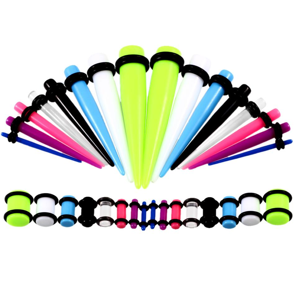 36pcs / lot Akrilik Kulak Ölçer Konik ve Tak Esneme Setleri Karışık Renk Kulak Flesh Tünel Genişleme Piercing Takı 14G-00G