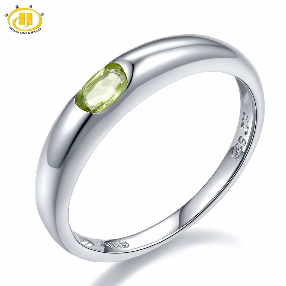 Hutang 100% Natural Peridot Gemstone Engagement Ring Genuel 925 Sterling Silver Jewellery Band Tail Rings Find Jewells For Gift S18101002