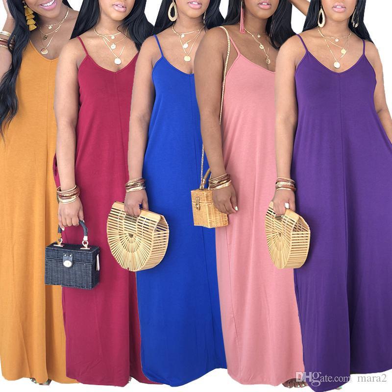 Femmes designercasual robes mode Spaghetti Strap Maxi robes Crayon Robes-parole longueur sans manches Natural Color vêtements d'été 135