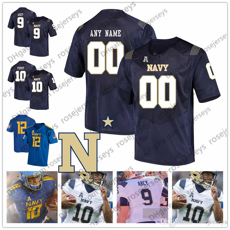 Personalizzato Midshipmen 2019 College Football bianco Royal Blue Angels 9 Zach Abey 10 Malcolm Perry Staubach 6 Perry Olsen Uomini Youth Jersey 4XL