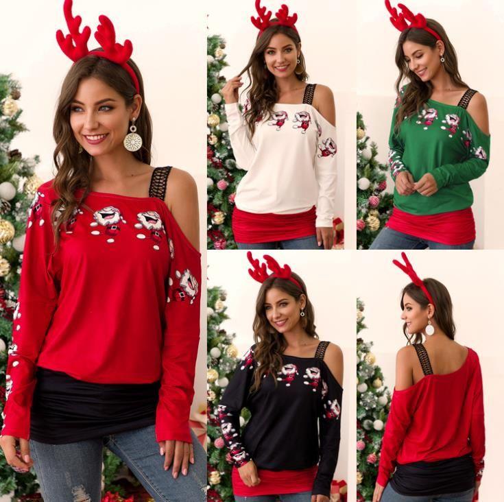 Noel Kadınlar tişörtleri Moda Tasarımcısı Kasetli Dantel Straplez Uzun Kollu Casual Gevşek Kadınlar Noel Giyim Tops