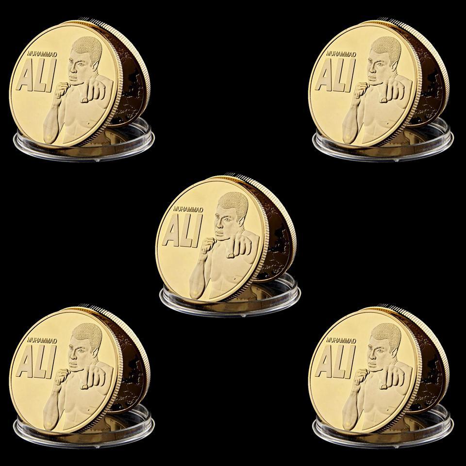 5PCS USA WBC champion du monde de boxe Muhammad Ali Haj-Gilded plaqué or Défi Souvenir Coin Collection