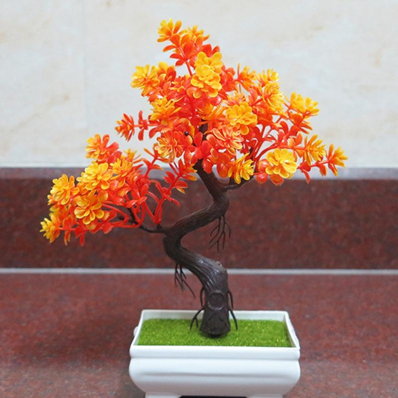 Tabela Flor Artificial Árvore da planta Falso vaso de plantas de plástico Top Ornamentos Simulação de Natal dos bonsais Craft Verde DECRO