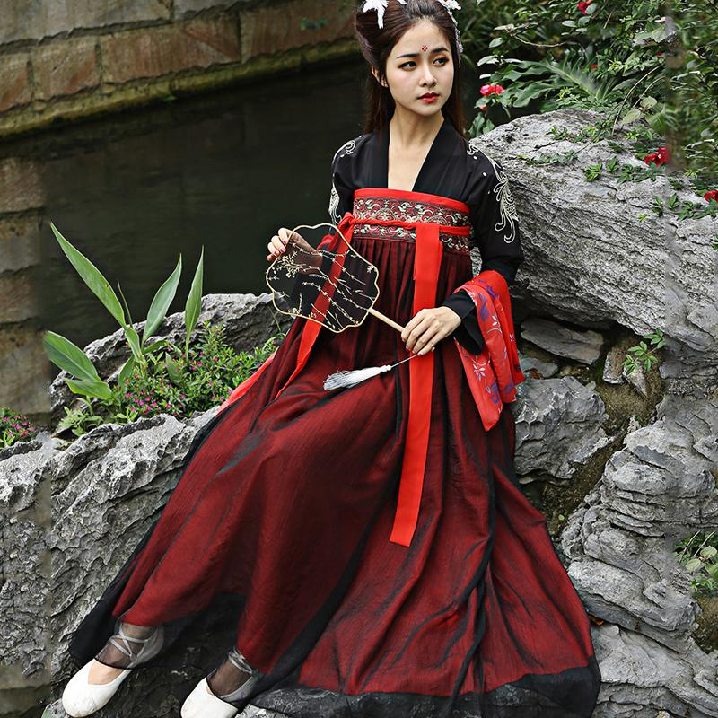Chinese Ancient Costume Hanfu Dresses Traditional Women Beautiful Dance Costumes Vintage Hanfu Clothes Lady Stage Dress DL4136